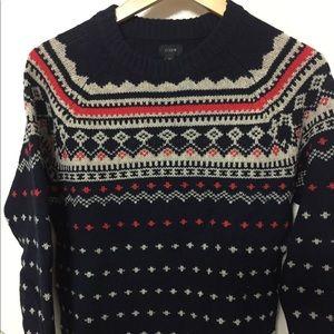 Jcrew fair isle wool sweater crew neck